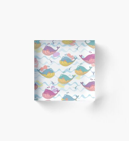 Vector illustration of a cheerful waterfowl, gull. Seamless children's background of marine whales. Acrylic Block