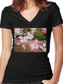Pink Dogwood Blossoms - Fitler Square - Philadelphia PA Women's Fitted V-Neck T-Shirt