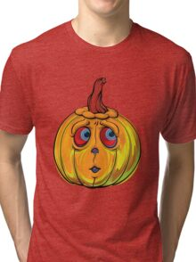 Halloween Pumpkin Cartoon Vector Tri-blend T-Shirt