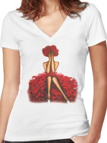 Rose girl Women's Fitted V-Neck T-Shirt