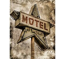 Vintage Grunge Star Motel Sign Photographic Print