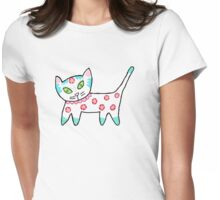 Hot Pink Cool Kitty Womens Fitted T-Shirt