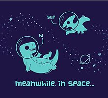 Meanwhile, In Space... (Greeting Card) by KristyKate