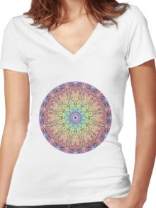 Pastel Mandala Women's Fitted V-Neck T-Shirt