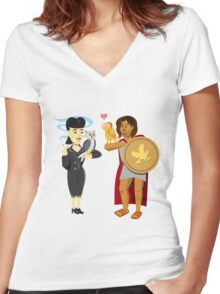 """Owls (""""Is it artificial?"""") Women's Fitted V-Neck T-Shirt"""