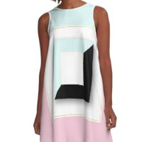 mint,pink,white,black,geometric,abstract art,vintage,retro,elegant,chic,contemporary art A-Line Dress