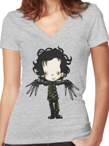 Edward with the hands of Scissors Women's Fitted V-Neck T-Shirt