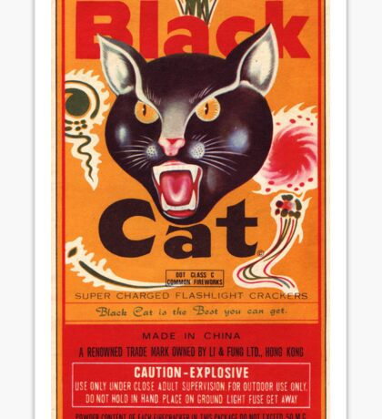 Vintage Fireworks Label:  Black Cat Firecrackers Sticker