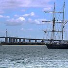 The Young Endeavour with the Bolte Bridge. by Larry Lingard-Davis
