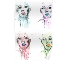Colorful Woman Mixed Media Painting Poster