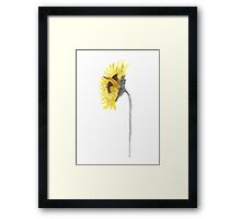 Sunflower Image Drawing Yellow Grey Wall Art Print Framed Print