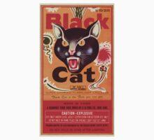 Vintage Fireworks Label:  Black Cat Firecrackers One Piece - Short Sleeve