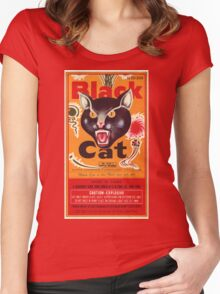 Vintage Fireworks Label:  Black Cat Firecrackers Women's Fitted Scoop T-Shirt