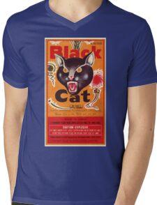 Vintage Fireworks Label:  Black Cat Firecrackers Mens V-Neck T-Shirt