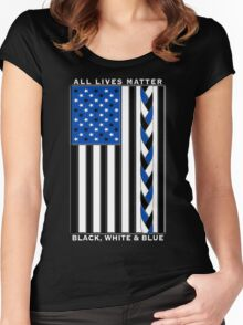 All Lives Matter Black Lives, Blue Lives - Black White and Blue American Flag Women's Fitted Scoop T-Shirt