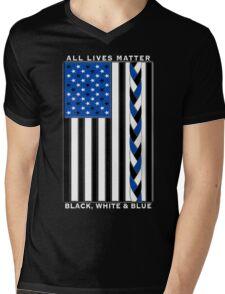 All Lives Matter Black Lives, Blue Lives - Black White and Blue American Flag Mens V-Neck T-Shirt