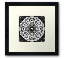 BLACK WHITE OM MANDALA Framed Print