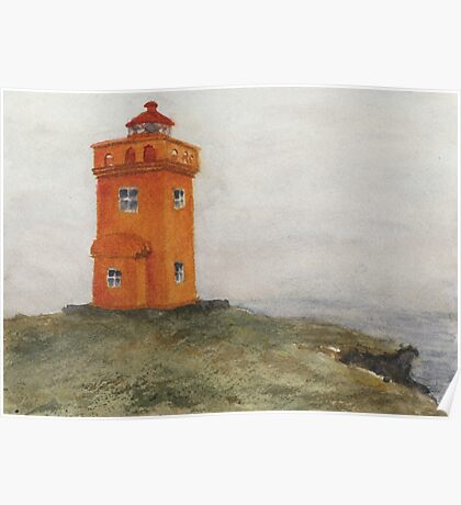 Watercolor Lighthouse at Grímsey, Iceland Poster
