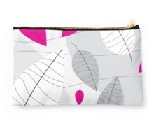 Grey, White & Pink Leaves Studio Pouch