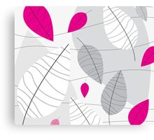 Grey, White & Pink Leaves Canvas Print