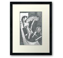 Woman Bathing Pencil Drawing Framed Print