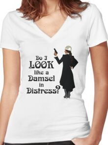 Isra - Damsel in Distress? Women's Fitted V-Neck T-Shirt