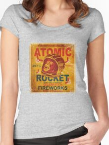 Vintage Fireworks label: Atomic Rocket Firecrackers Women's Fitted Scoop T-Shirt