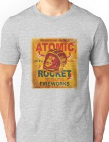 Vintage Fireworks label: Atomic Rocket Firecrackers Unisex T-Shirt