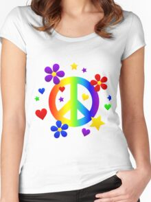 hippie sign  Women's Fitted Scoop T-Shirt