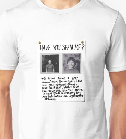 STRANGER THINGS - Will Byers Missing Poster Unisex T-Shirt
