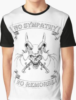 No Sympathy No Remorse Winged Skull with Swords Graphic T-Shirt
