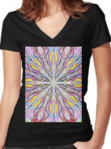 Stain Glass kaleidoscope Women's Fitted V-Neck T-Shirt