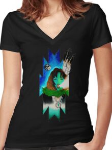 Peaceful Night Women's Fitted V-Neck T-Shirt