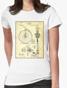 BICYCLE PATENT ; Vintage Papers Print Womens Fitted T-Shirt