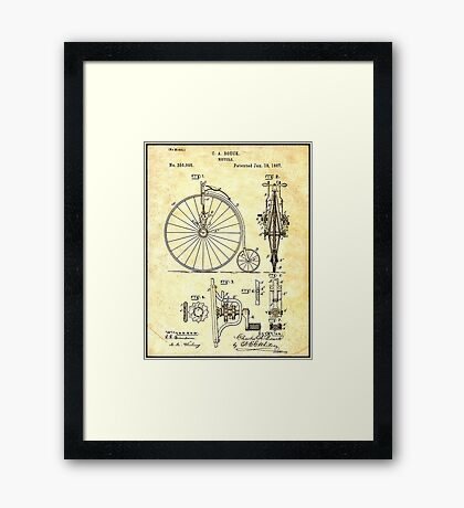 BICYCLE PATENT ; Vintage Papers Print Framed Print