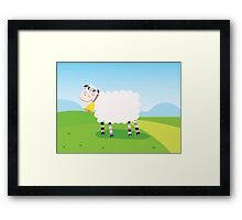 Happy sheep character for Kids. Vector Illustration Framed Print