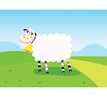 Happy sheep character for Kids. Vector Illustration Photographic Print