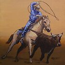 Calf Ropin' Cowboy by Michael Beckett