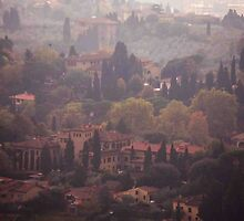 Foggy Florence Hillside by phil decocco