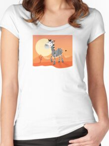 Funny zebra. Vector Illustration of safari animal Women's Fitted Scoop T-Shirt
