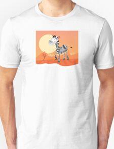 Funny zebra. Vector Illustration of safari animal Unisex T-Shirt