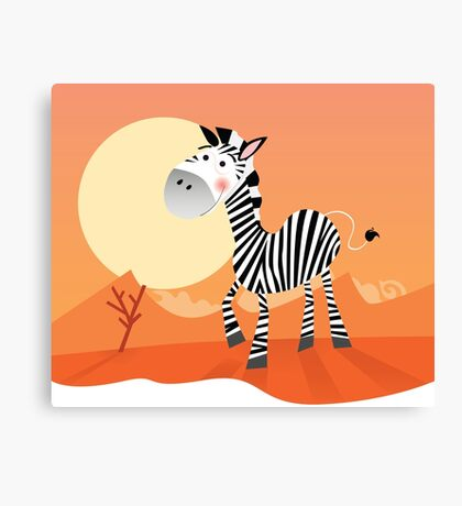Funny zebra. Vector Illustration of safari animal Canvas Print