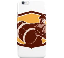 Bartender Carrying Beer Keg Circle Retro iPhone Case/Skin