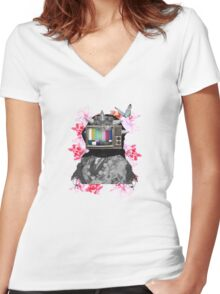 Berberes flowers Women's Fitted V-Neck T-Shirt