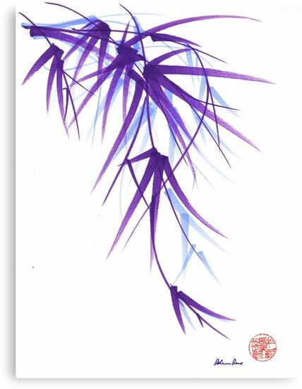 Summer - Lavender bamboo sumie brush painting by Rebecca Rees