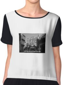 Lomography white and black photo with text Only my dream keeps me alive Chiffon Top