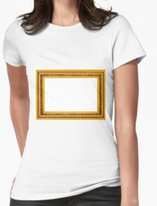 Antique golden frame isolated on white background Womens Fitted T-Shirt