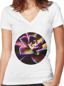 RAINBOW SUCCULENT Women's Fitted V-Neck T-Shirt