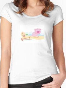 Vector - Pig on farm. Funny animal with farmhouse in background. Vector cartoon Illustration. Women's Fitted Scoop T-Shirt