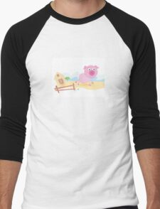 Vector - Pig on farm. Funny animal with farmhouse in background. Vector cartoon Illustration. Men's Baseball ¾ T-Shirt